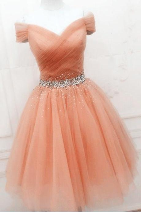 Pearl Pink Homecoming Dresses ,Vintage Homecoming Dresses ,Tulle Homecoming Dresses ,Beaded Homecoming Dresses ,Off Shoulder Homecoming Dresses , Cute Homecoming Dresses , Prom Dresses ,Short Cocktail Dresses