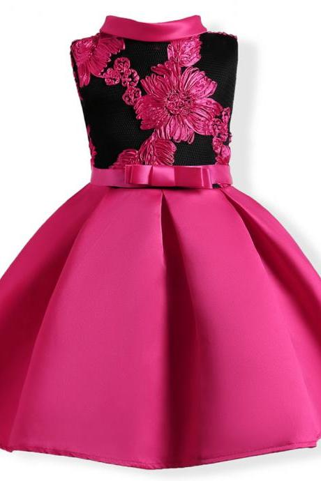 Embroidery Flower Girl Dress Princess Kids Formal Party Prom Gown Children Clothes hot pink