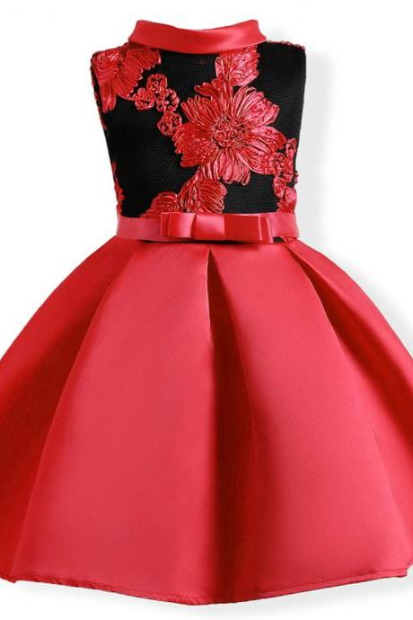 Embroidery Flower Girl Dress Princess Kids Formal Party Prom Gown Children Clothes red