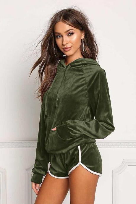 Spring Autumn Women Tracksuits Casual Long Sleeve Hooded Sweatshirt+Shorts Two Piece Sets Sportswears army green