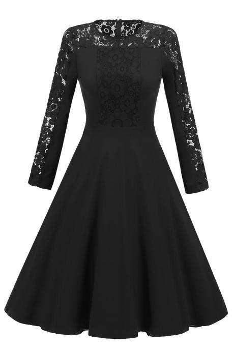 10bdbd5504974 Vintage Long Sleeve Autumn Dress Floral Lace Patchwork Women Cocktail Party  A Line Swing Dress black