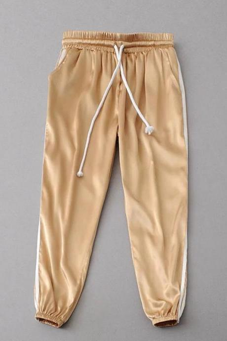 Gold Casual High Waist Striped Joggers, Sweatpants, Sports Pants