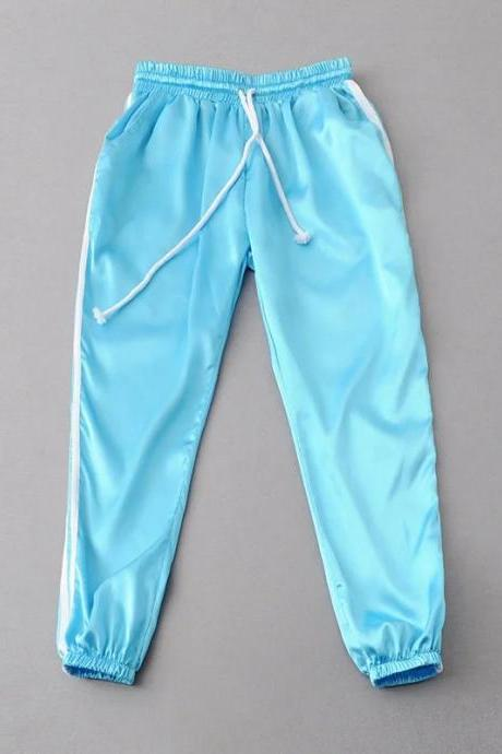 Sweatpants Women Sport Pants Joggers Casual Harlan Yoga Gym Side Striped Drawstring High Waist Lady Femme Trousers sky blue