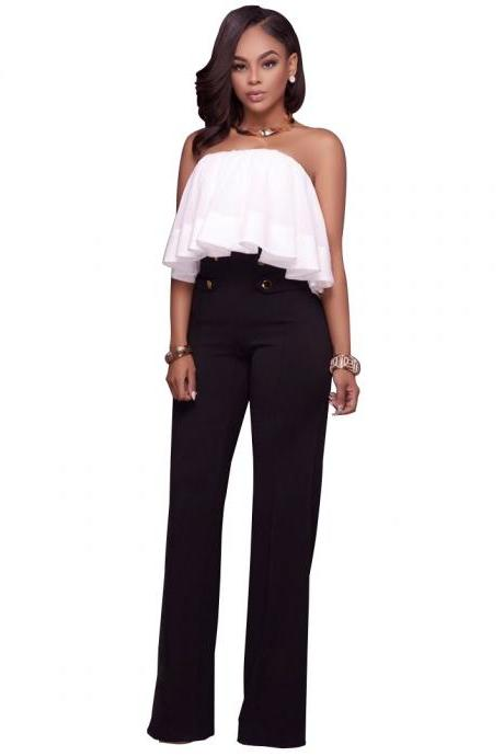 Hot Women High Waist Wide Leg Long Pants Office Lady Career Buttons Casual Trousers black