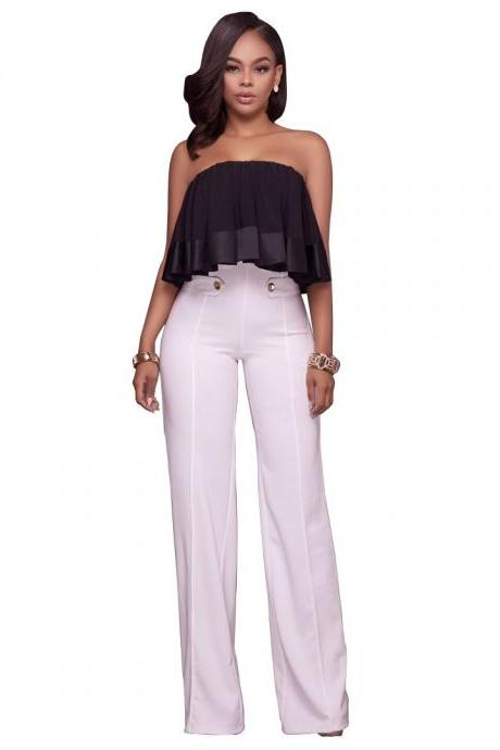 Hot Women High Waist Wide Leg Long Pants Office Lady Career Buttons Casual Trousers off white