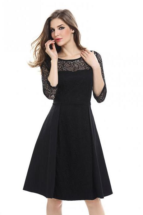 b9499aab677 Vintage Lace Patchwork Dress Women 3 4 Sleeve Business Work Office Cocktail  Party Dress black