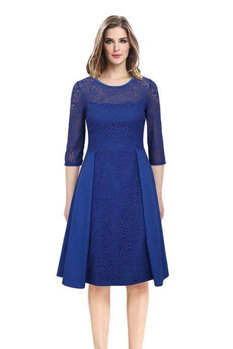 Vintage Lace Patchwork Dress Women 3/4 Sleeve Business Work Office Cocktail Party Dress blue
