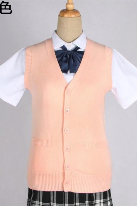 Japanese JK Uniform Cardigans Vest Cosplay Student Cotton V Neck Sleeveless Sweater pink