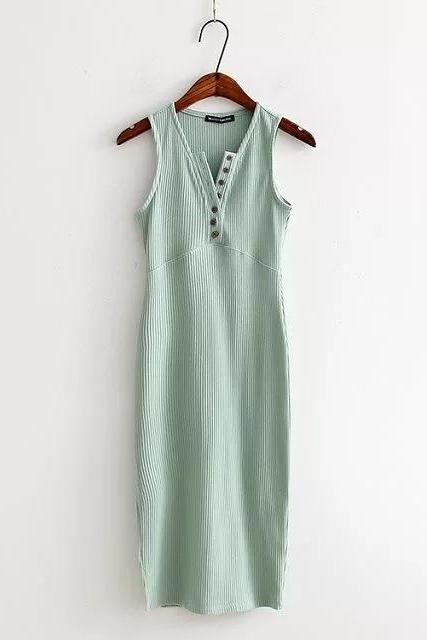 Women Summer Bodycon Dress Sleeveless V-Neck Buttons Slim High Split Club Party Dress aqua