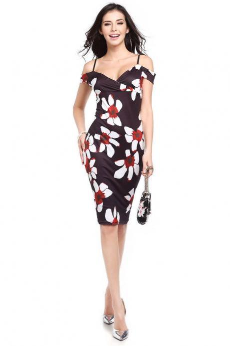 Women Floral Printed Pencil Dress Summer Off the Shoulder Bodycon Party Club Dress 1#