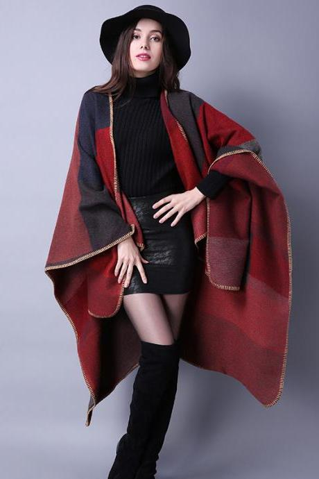 Women Lady Faux Cashmere Scarf Plaid Poncho Cape Floral Wrap Shawl Blanket Cloak 2#