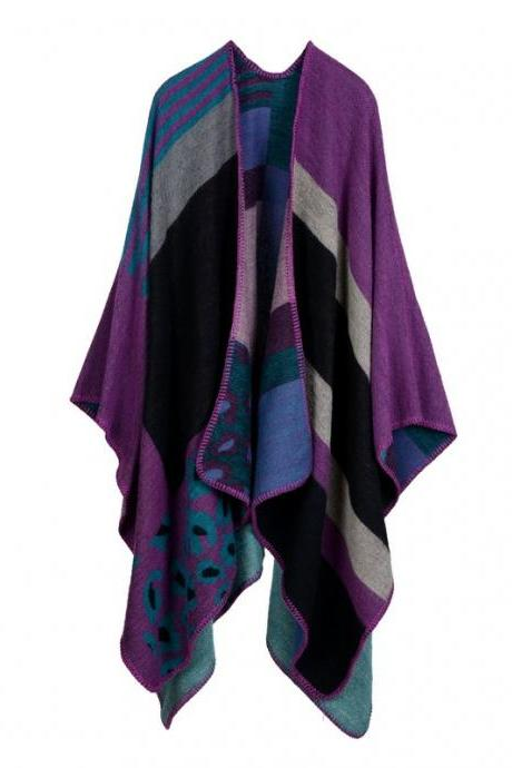 Women Lady Faux Cashmere Scarf Plaid Poncho Cape Floral Wrap Shawl Blanket Cloak 5#