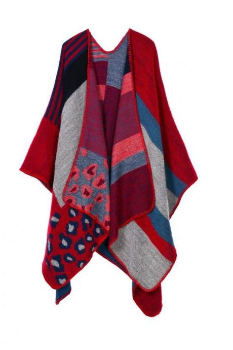 Women Lady Faux Cashmere Scarf Plaid Poncho Cape Floral Wrap Shawl Blanket Cloak 8#
