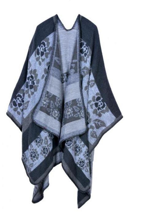 Women Lady Faux Cashmere Scarf Plaid Poncho Cape Floral Wrap Shawl Blanket Cloak 9#