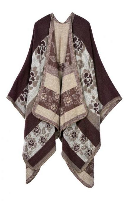 Women Lady Faux Cashmere Scarf Plaid Poncho Cape Floral Wrap Shawl Blanket Cloak 10#