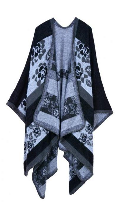 Women Lady Faux Cashmere Scarf Plaid Poncho Cape Floral Wrap Shawl Blanket Cloak 11#