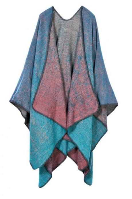 Women Lady Faux Cashmere Scarf Plaid Poncho Cape Floral Wrap Shawl Blanket Cloak 18#