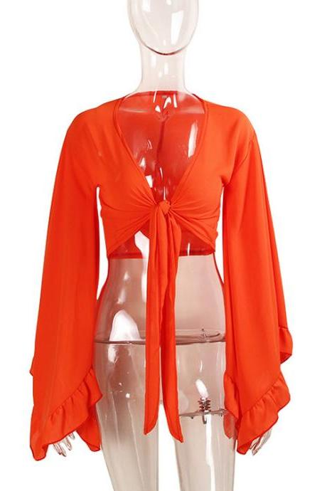 Sexy V Neck Bow Tie Short Cross Tops Women Summer Chiffon Long Sleeve Cropped Tee Shirt orange