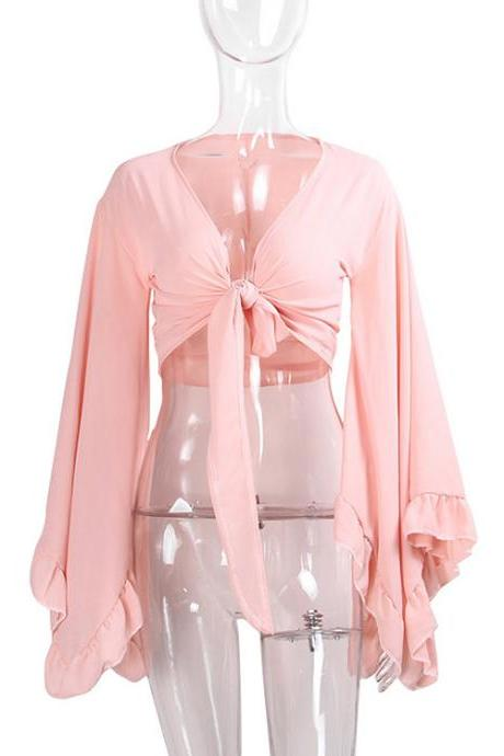 Sexy V Neck Bow Tie Short Cross Tops Women Summer Chiffon Long Sleeve Cropped Tee Shirt pink