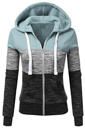 Spring Autumn Women Sweatshirt Coat Casual Zipper Contrast Color Hooded Jacket Outerwear 3#