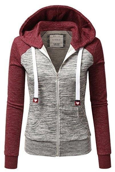 Spring Autumn Women Sweatshirt Coat Casual Zipper Contrast Color Hooded Jacket Outerwear 4#