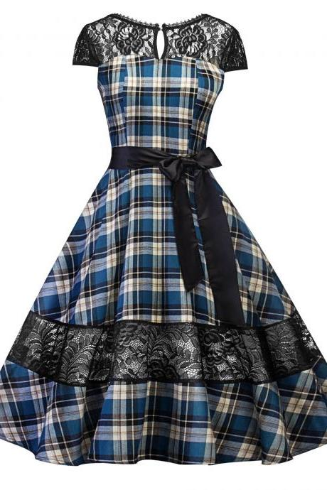 Vintage Plaid Lace Patchwork Dress Women Cap Sleeve Belted A Line Cocktail Work Party Dress blue