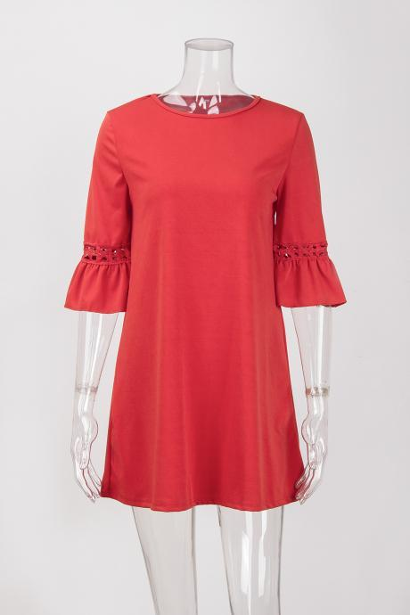 Red Crew Neck Half Flared Sleeves Short Shift Dress