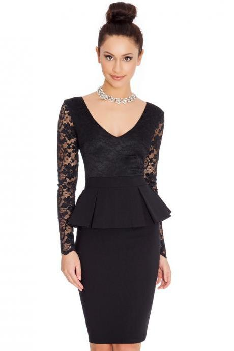 Women Lace Long Sleeve Work Dress V Neck Bodycon Office Business Peplum Party Pencil Dress black