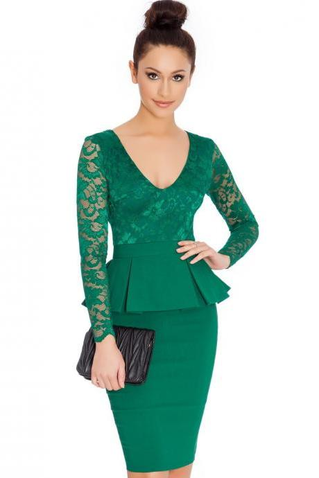 014aaabf1ab Women Lace Long Sleeve Work Dress V Neck Bodycon Office Business Peplum Party  Pencil Dress green