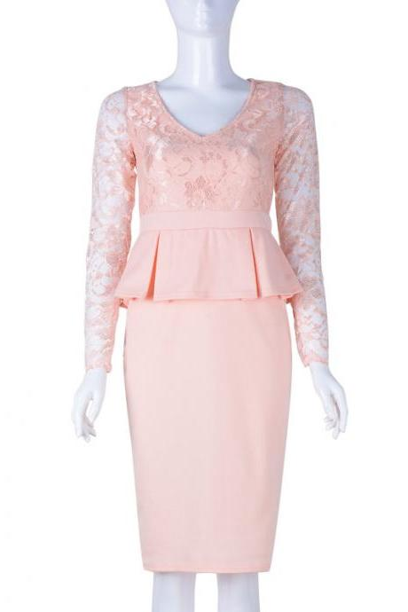 Women Lace Long Sleeve Work Dress V Neck Bodycon Office Business Peplum Party Pencil Dress salmon
