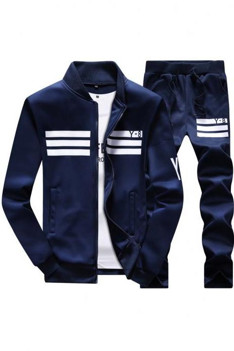 Mens Tracksuit Set Plus Size Stand Collar Men Sportswear Casual Sets Fitness Clothing navy blue