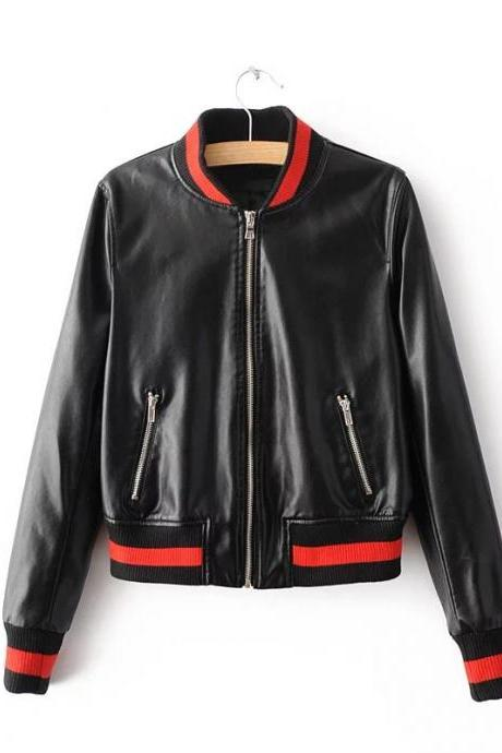 New Fashion Women Faux PU Leather Jacket Spring Autumn Slim Zipper Outwear Motorcycle Coat black