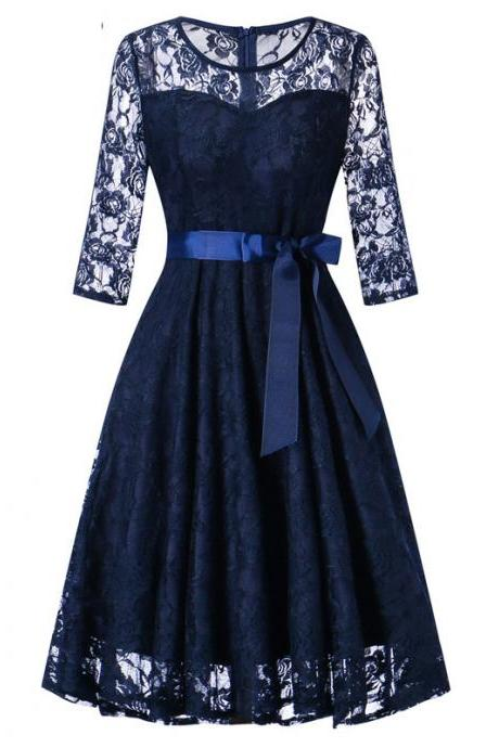Women Floral Lace Dress 3/4 Sleeve Belted Elegant Evening Retro Swing Office Party Dress navy blue