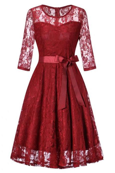 Women Floral Lace Dress 3/4 Sleeve Belted Elegant Evening Retro Swing Office Party Dress wine red