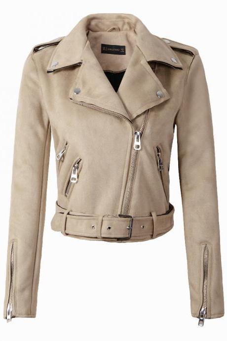 New Arrial Women Suede Faux Leather Jackets Lady Fashion Motorcycle Coat Biker Outerwear beige