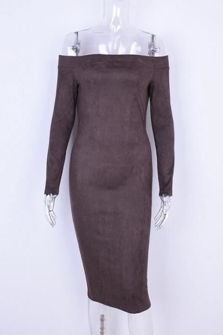 Women Suede Dress Sexy Bodycon Party Long Sleeve Off The Shoulder Club Pencil Dress khaki