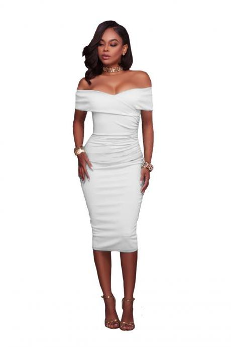Women Midi Bodycon Dress Ruched Elegant Sexy Off the Shoulder Party Clubwear Pencil Dress off white