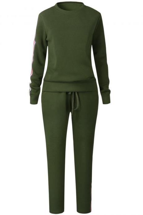 Women Tracksuit Casual Long Sleeve O-Neck Hoodies+Pants Striped Two Pieces Suit Sportwear army green