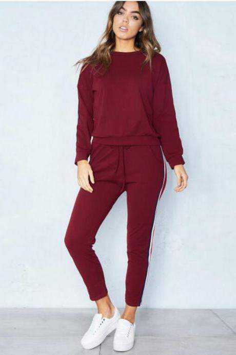 Women Tracksuit Casual Long Sleeve O-Neck Hoodies+Pants Striped Two Pieces Suit Sportwear burgundy