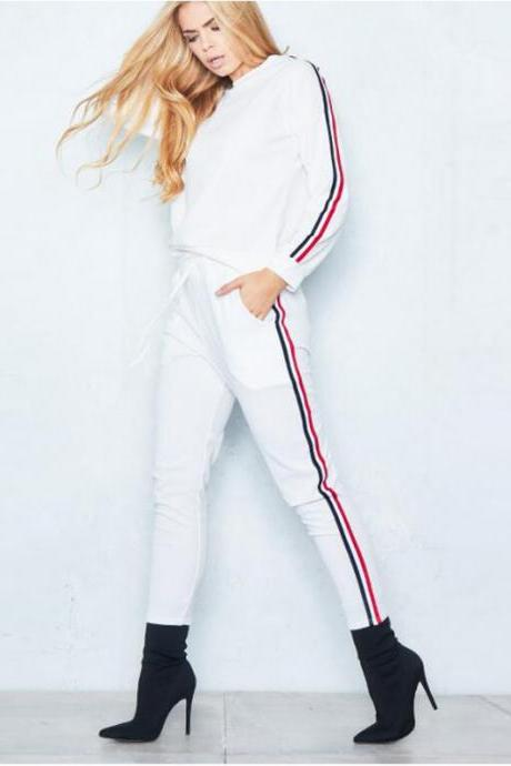Women Tracksuit Casual Long Sleeve O-Neck Hoodies+Pants Striped Two Pieces Suit Sportwear off white