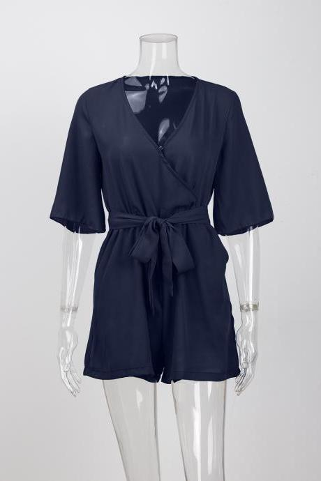 Women Summer Short Jumpsuit V Neck Chiffon Sexy Playsuit Half Sleeve Belted Beach Party Rompers navy blue