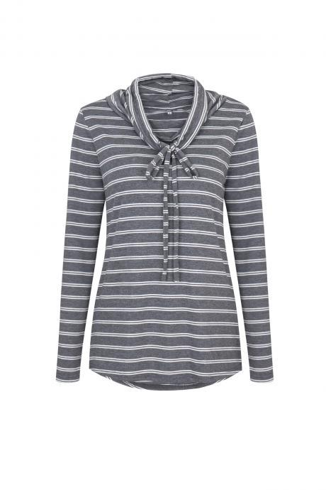 Spring Autumn Women Striped T-Shirt Casual Long Sleeve Turtleneck Basic Tees Ladies Tops gray