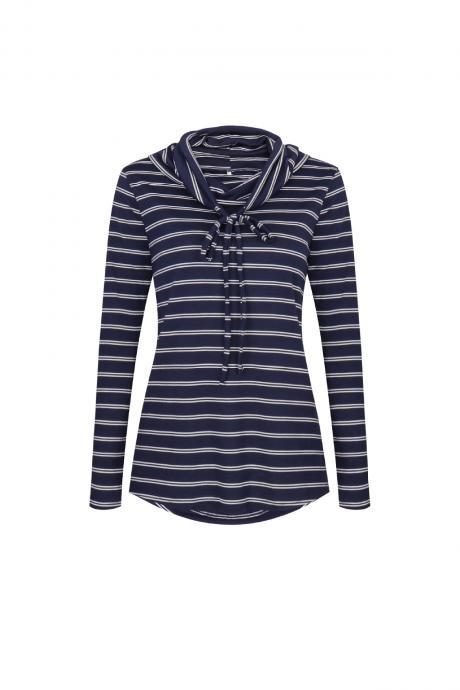 Spring Autumn Women Striped T-Shirt Casual Long Sleeve Turtleneck Basic Tees Ladies Tops navy blue