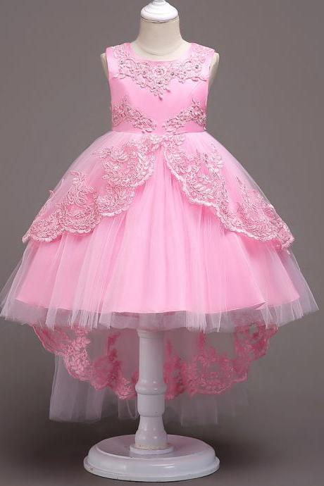 High Low Lace Flower Girls Dress Wedding Teens Prom Party Perform Gowns Kids Children Clothes pink