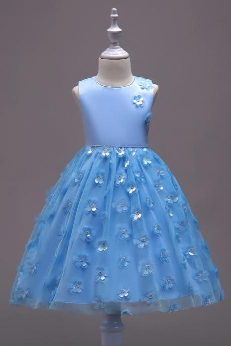 Flower Girl Dress Bow Sleeveless Kids Wedding First Communion Evening Party Gown Kids Children Clothes light blue