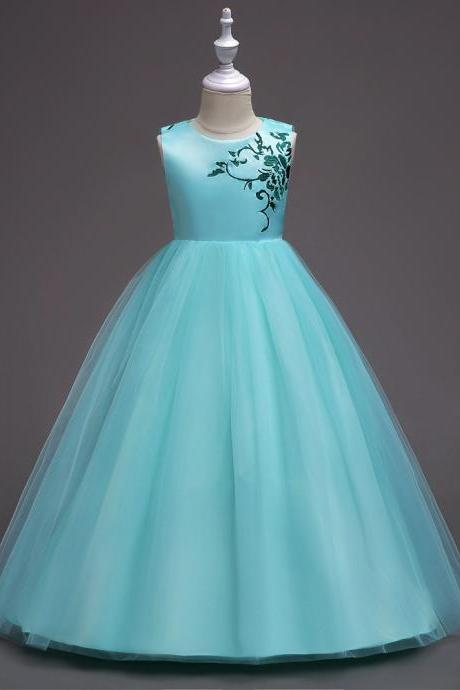 Embroidery Flower Girl Dress Princess Wedding Little Bridesmaid Party Gown Kids Children Clothes aqua
