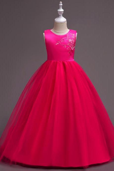 Embroidery Flower Girl Dress Princess Wedding Little Bridesmaid Party Gown Kids Children Clothes hot pink