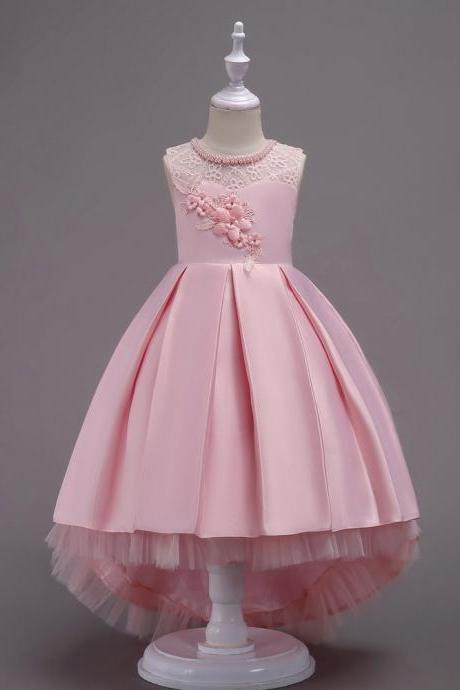 Princess Flower Girl Dress Lace High Low Wedding Birthday Party Tutu Gown Kids Clothes pink
