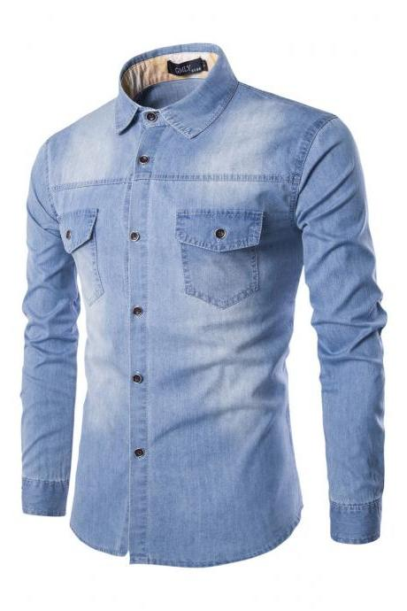 Mens Denim Shirt Cotton Two Pockets Male Long Sleeve Slim Fit Casual Jeans Shirt M-6xl light blue