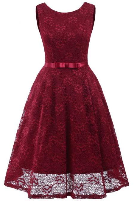 Vintage Floral Lace Dress O Neck Sleeveless Bow Belted Wedding Party Swing Dress burgundy